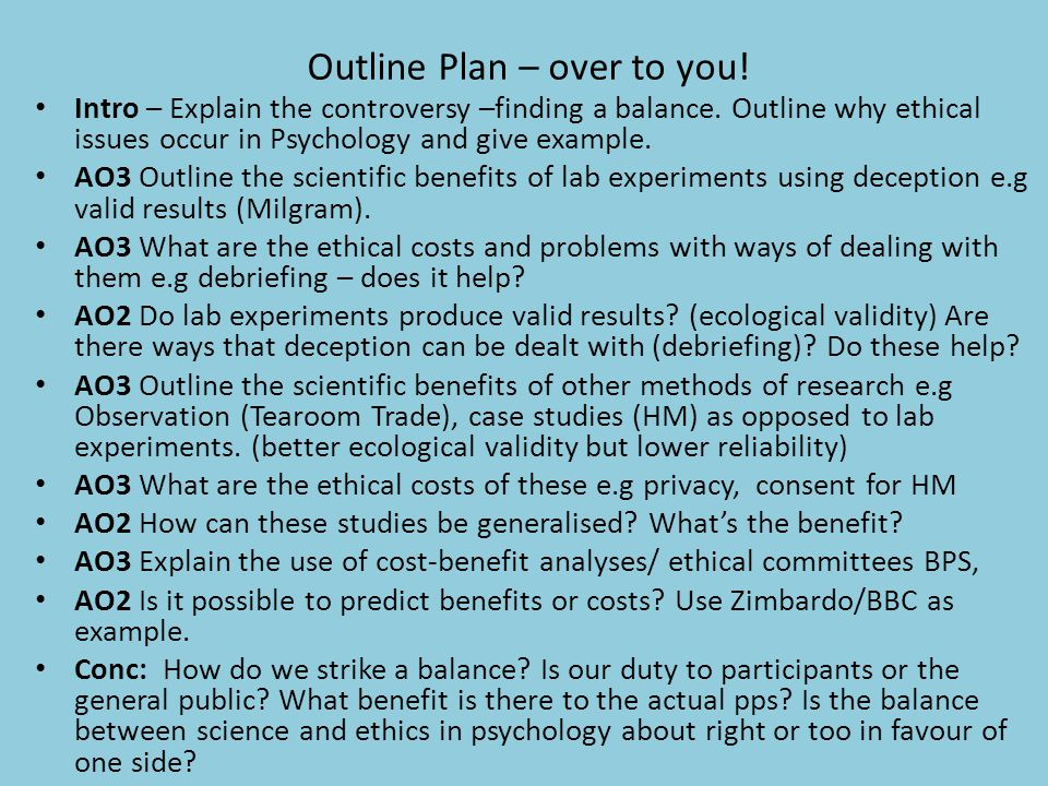 Outline Plan – over to you!