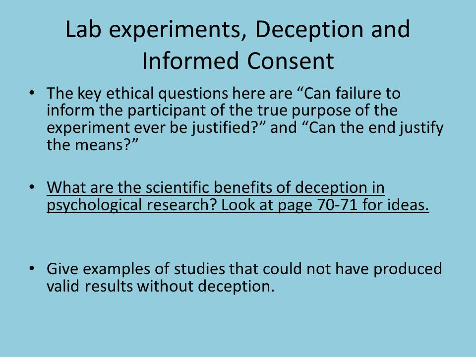 Lab experiments, Deception and Informed Consent