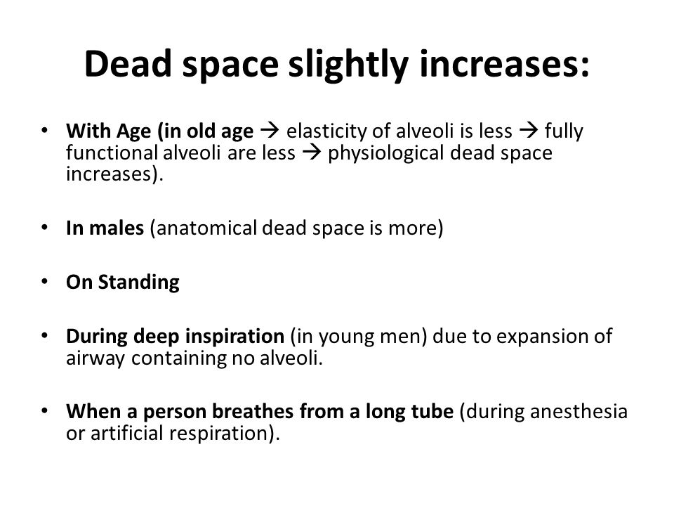 Dead space slightly increases: