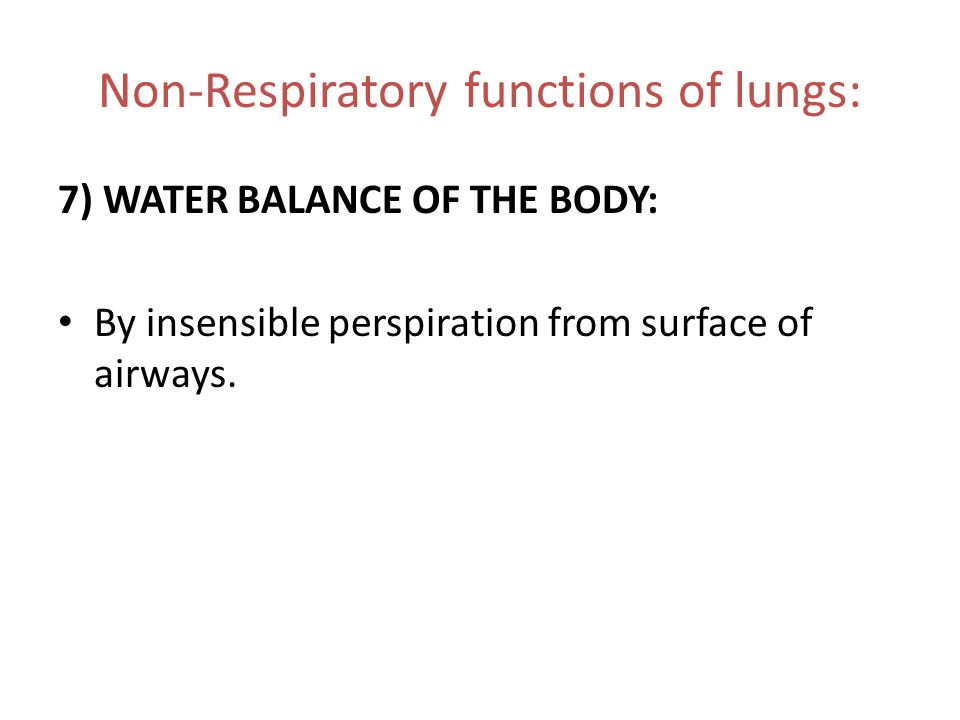 Non-Respiratory functions of lungs: