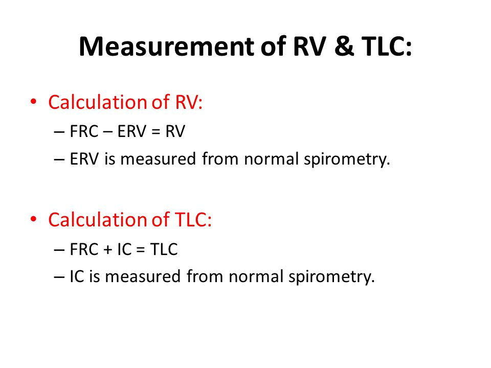 Measurement of RV & TLC: