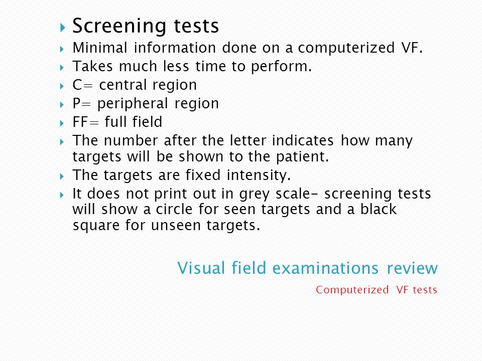 Visual field examinations review
