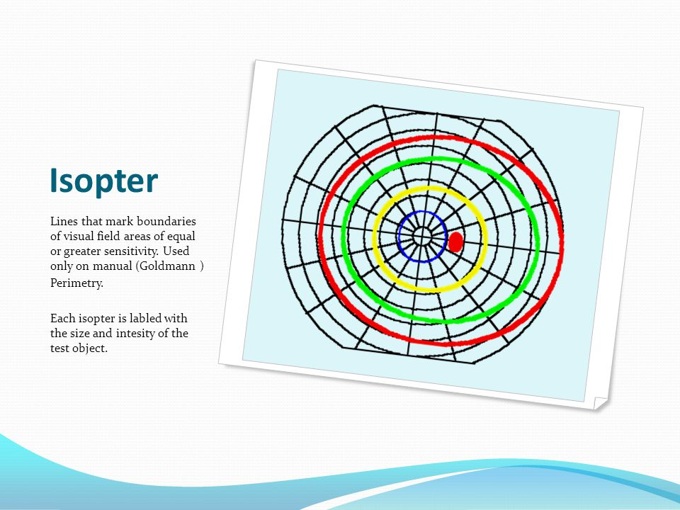 Isopter Lines that mark boundaries of visual field areas of equal or greater sensitivity. Used only on manual (Goldmann )