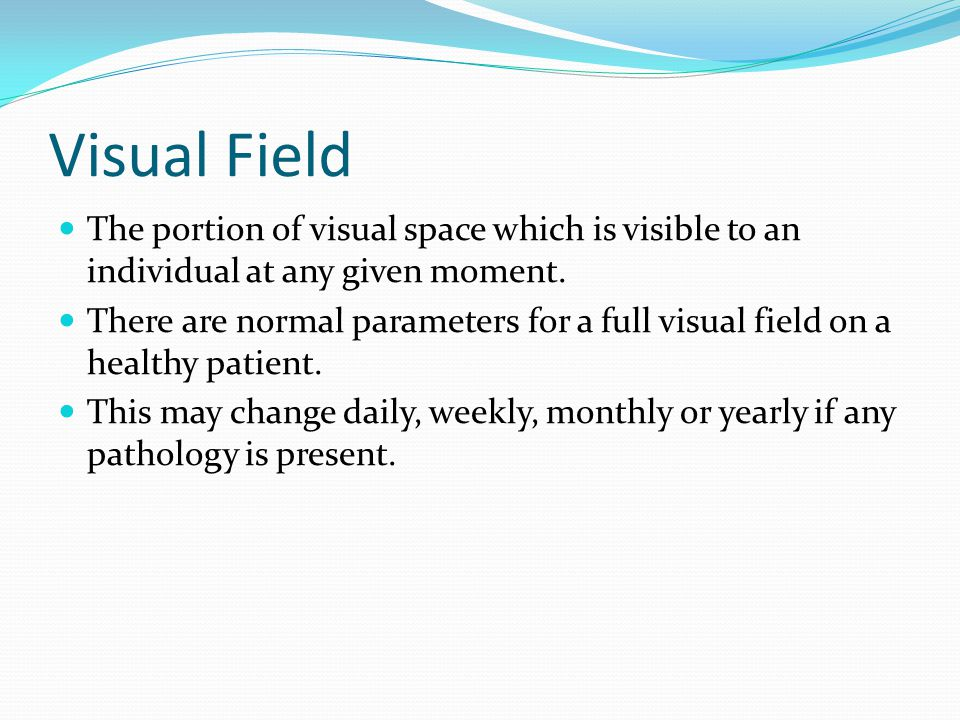 Visual Field The portion of visual space which is visible to an individual at any given moment.