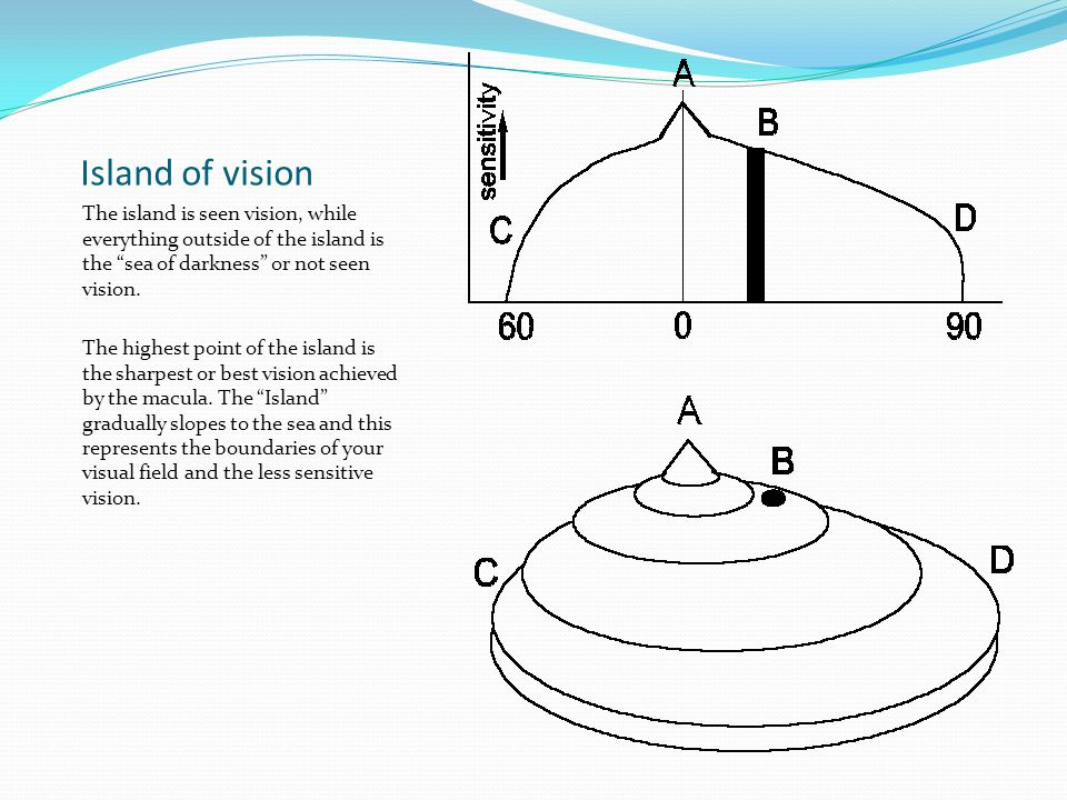 Island of vision The island is seen vision, while everything outside of the island is the sea of darkness or not seen vision.