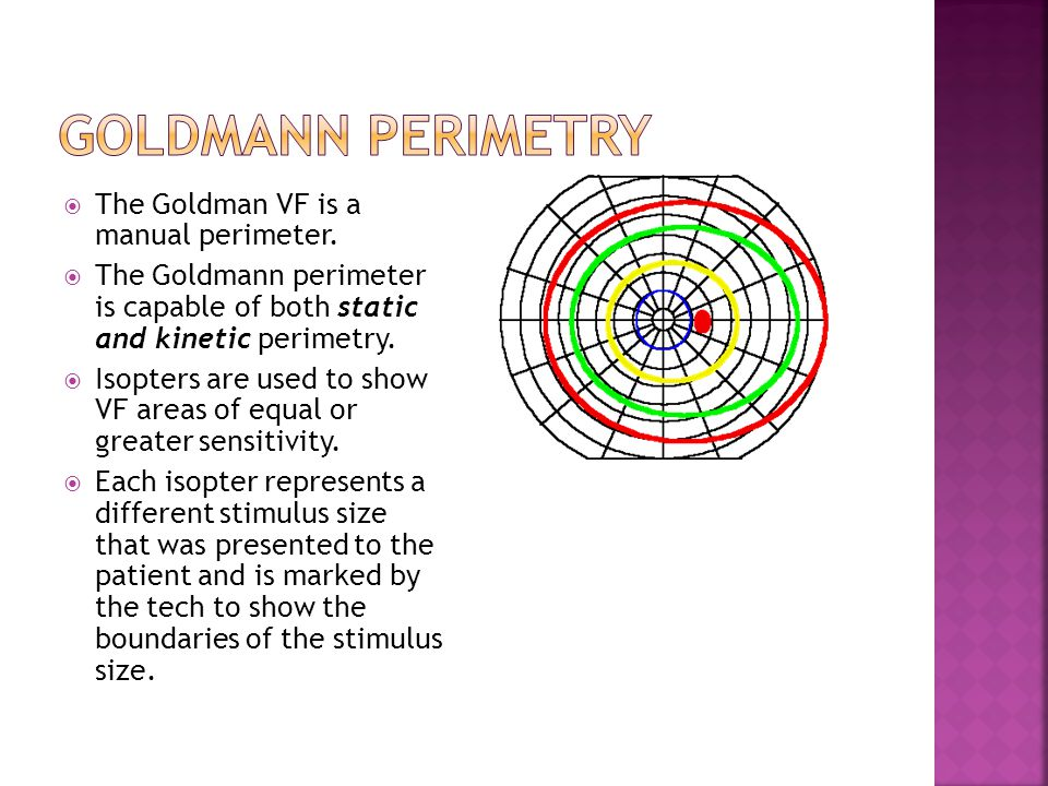 Goldmann Perimetry The Goldman VF is a manual perimeter.