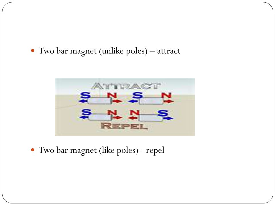 Two bar magnet (unlike poles) – attract