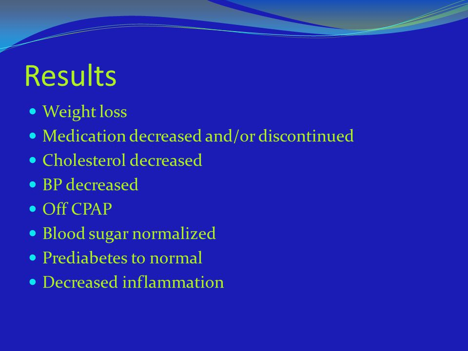 Results Weight loss Medication decreased and/or discontinued