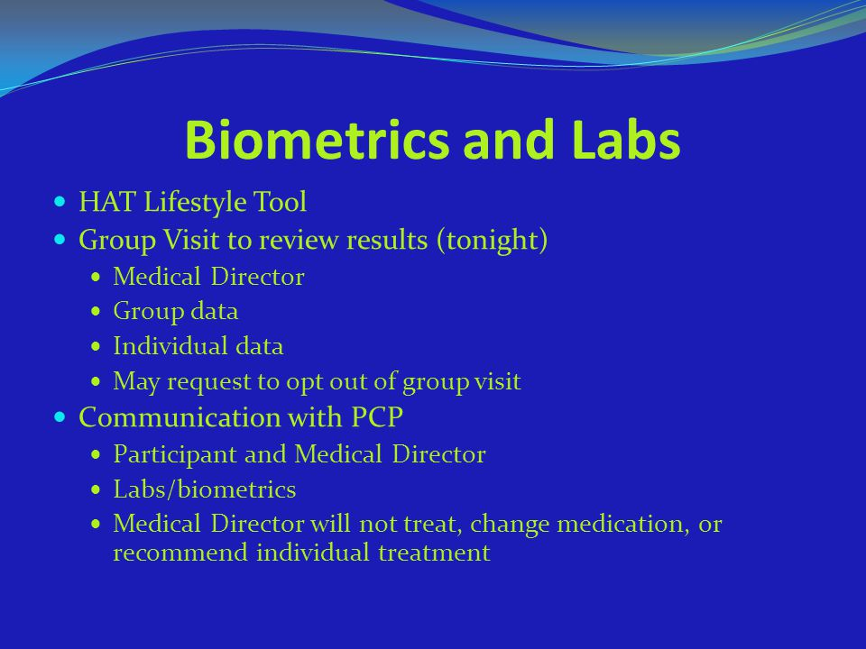 Biometrics and Labs HAT Lifestyle Tool