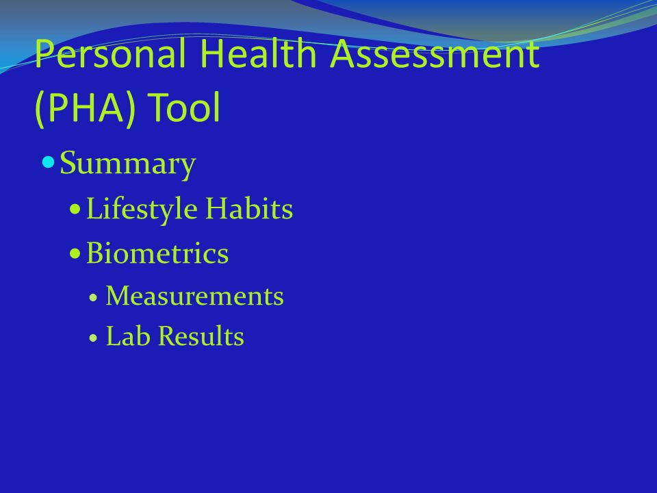 Personal Health Assessment (PHA) Tool