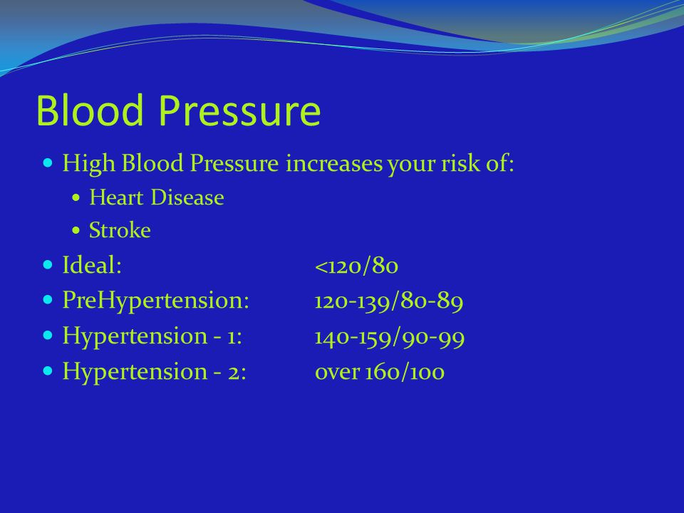 Blood Pressure High Blood Pressure increases your risk of: