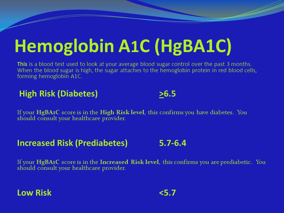 Hemoglobin A1C (HgBA1C) High Risk (Diabetes) >6.5