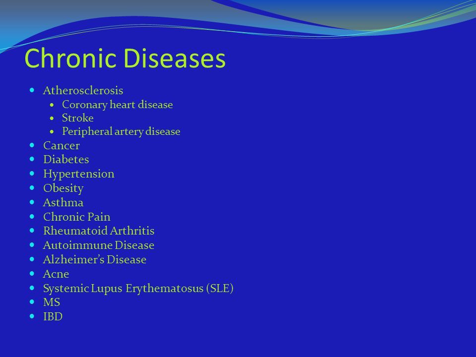 Chronic Diseases Atherosclerosis Cancer Diabetes Hypertension Obesity