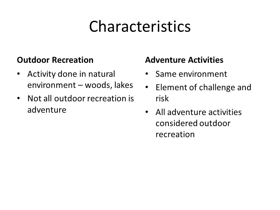 Characteristics Outdoor Recreation Adventure Activities