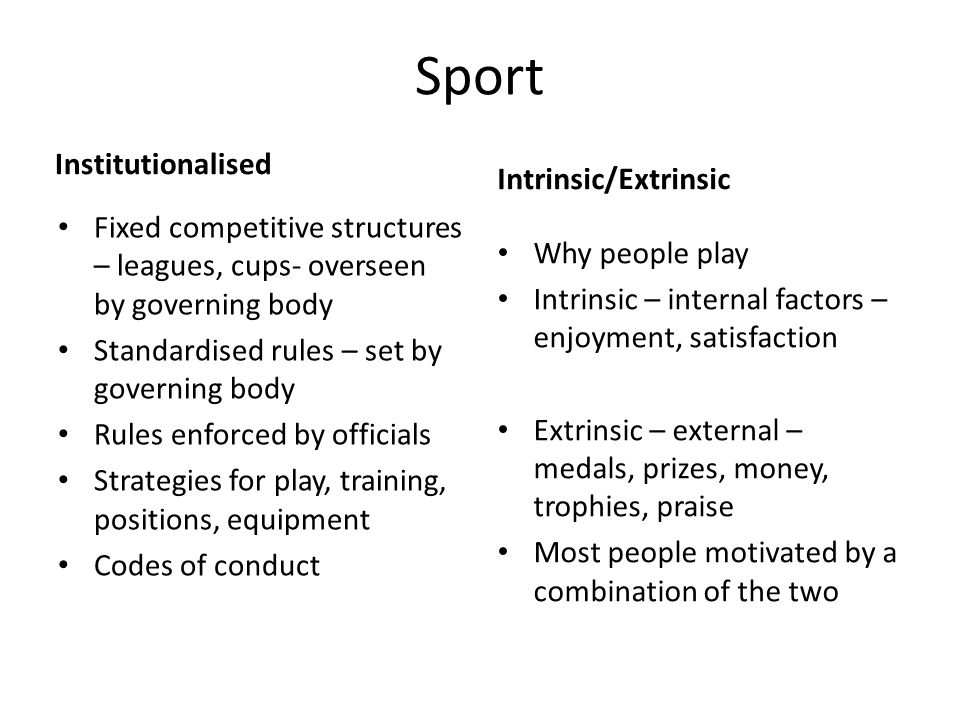 Sport Institutionalised Intrinsic/Extrinsic