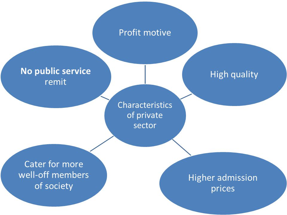 Characteristics of private sector Profit motive High quality