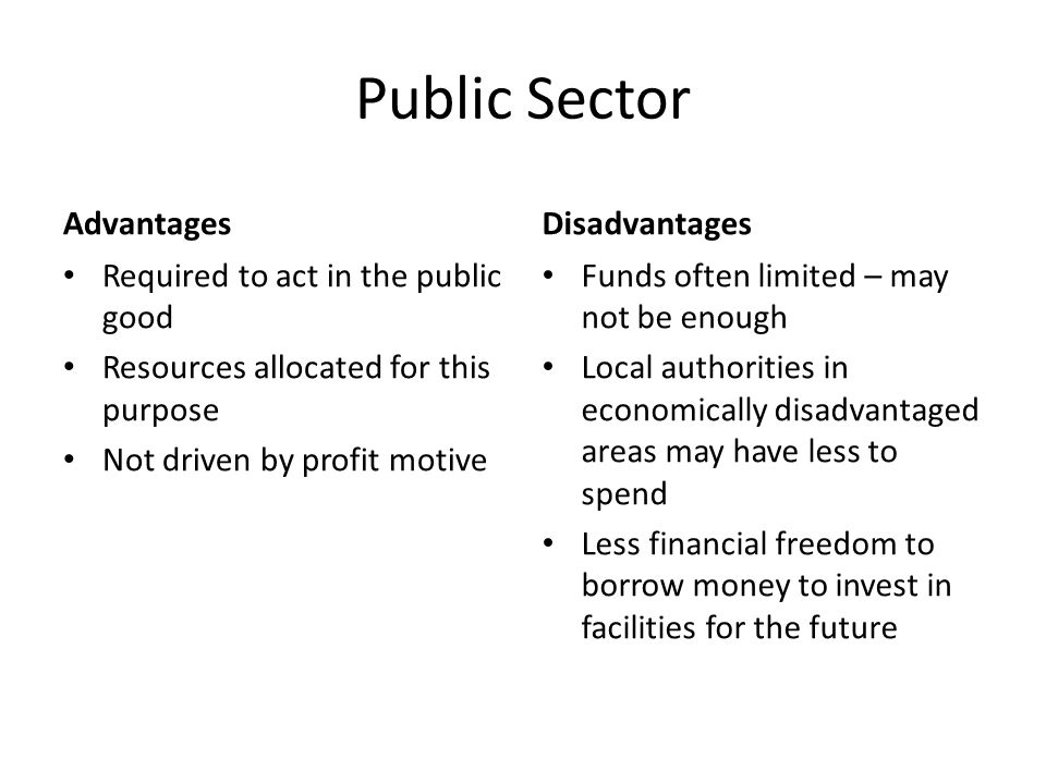 Public Sector Advantages Disadvantages