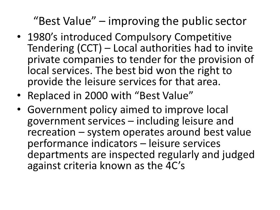 Best Value – improving the public sector