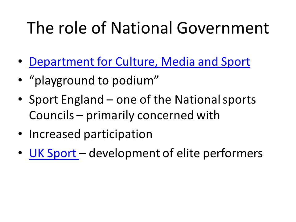 The role of National Government