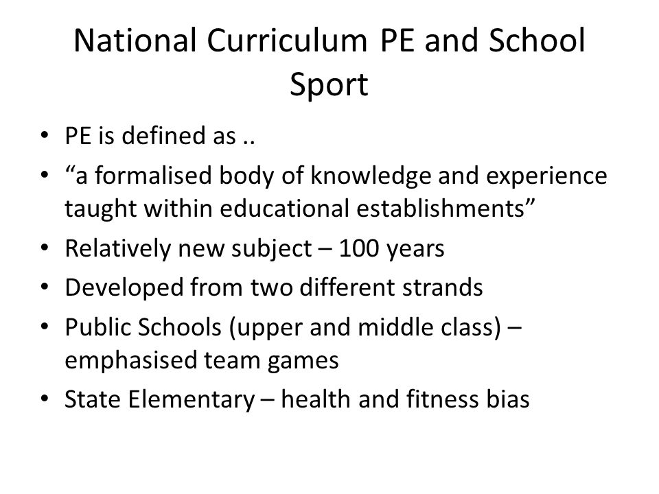 National Curriculum PE and School Sport