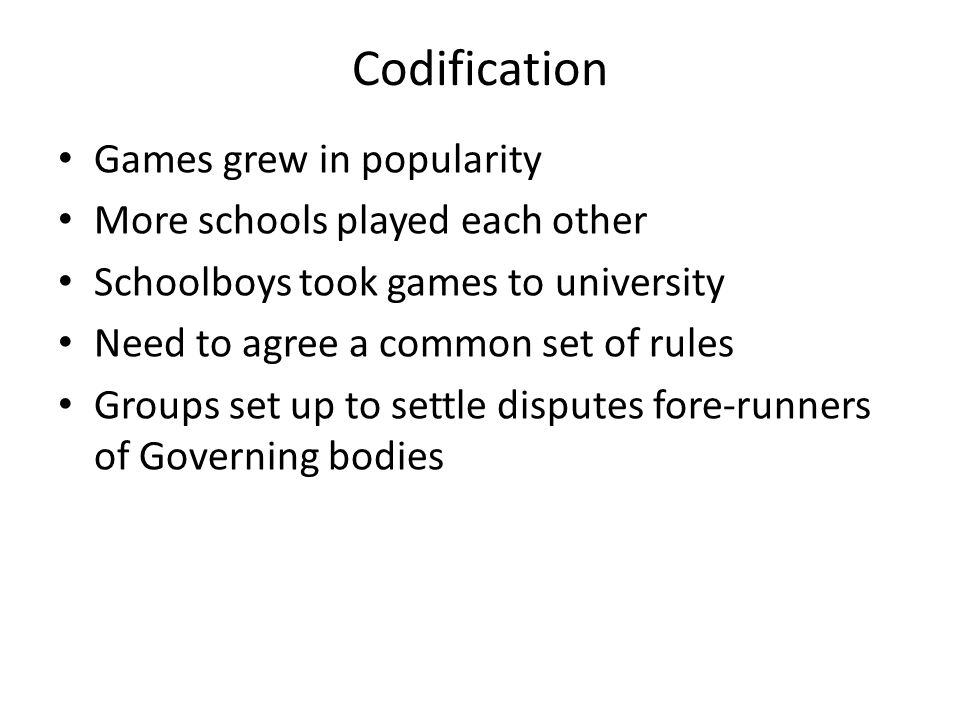 Codification Games grew in popularity More schools played each other