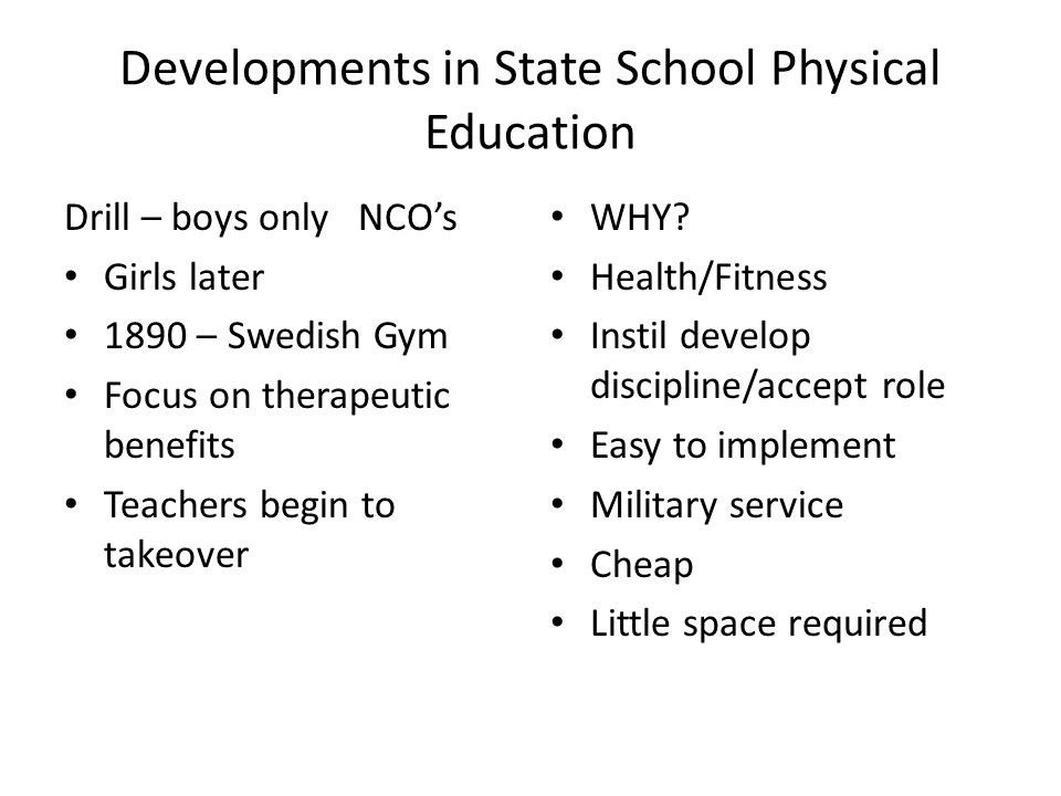 Developments in State School Physical Education