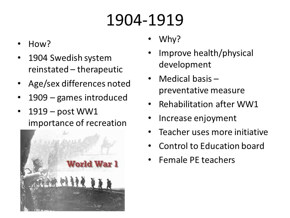 1904-1919 Why How Improve health/physical development