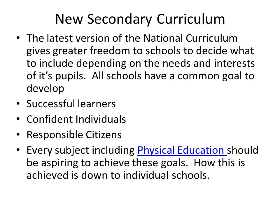 New Secondary Curriculum