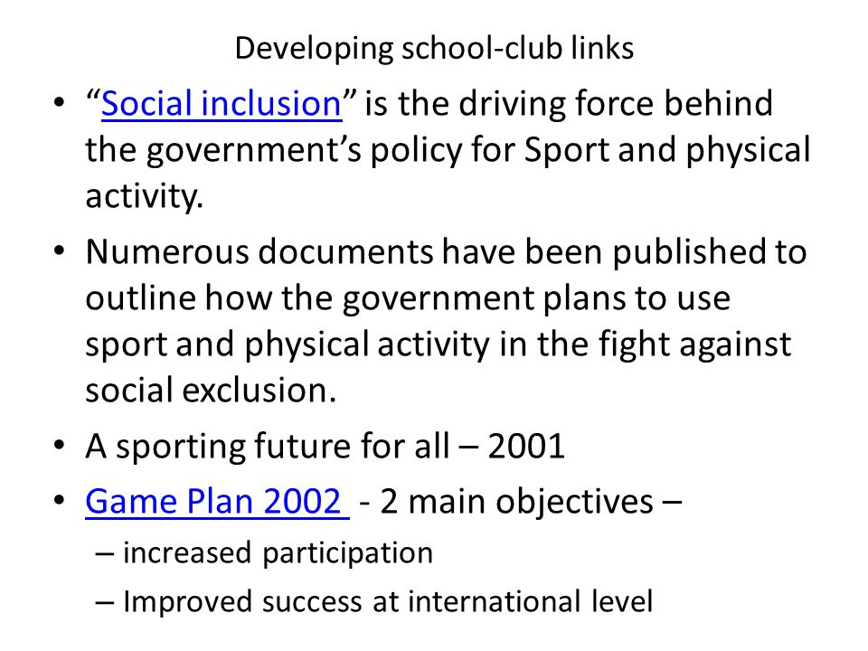 Developing school-club links