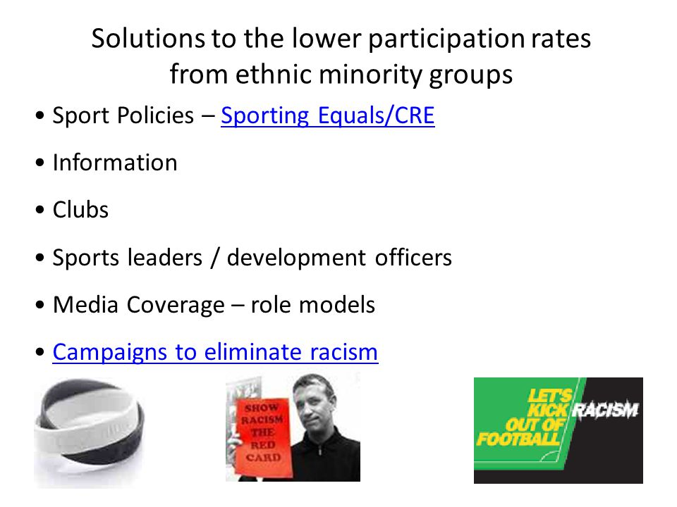 Solutions to the lower participation rates from ethnic minority groups
