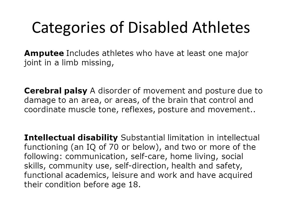 Categories of Disabled Athletes