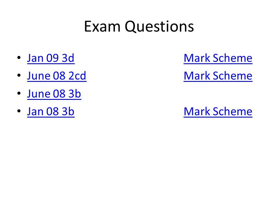 Exam Questions Jan 09 3d Mark Scheme June 08 2cd Mark Scheme