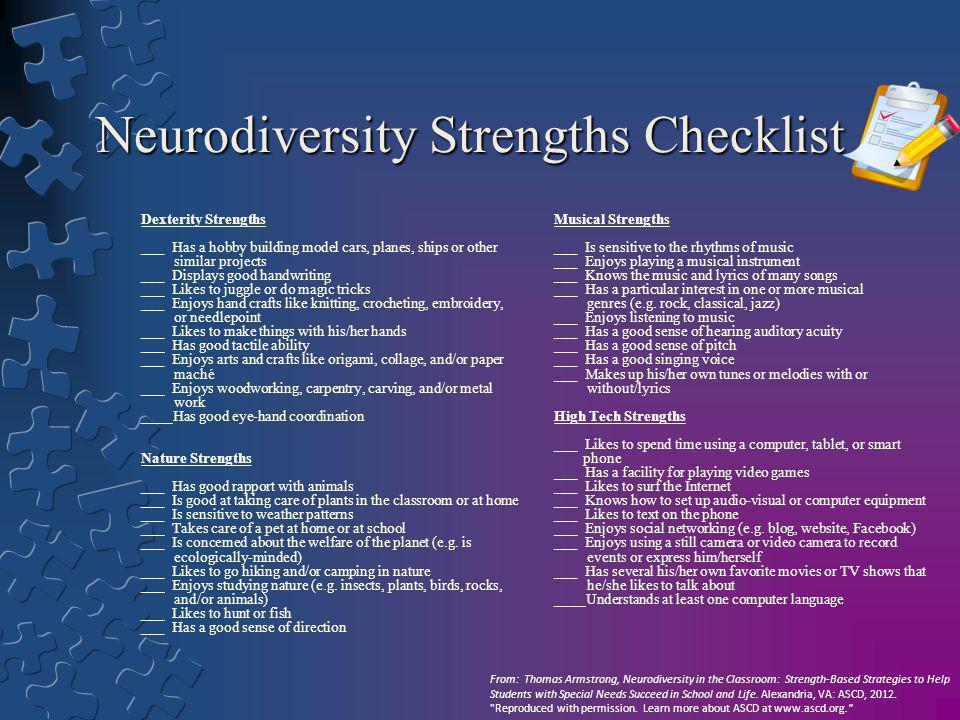 Neurodiversity Strengths Checklist