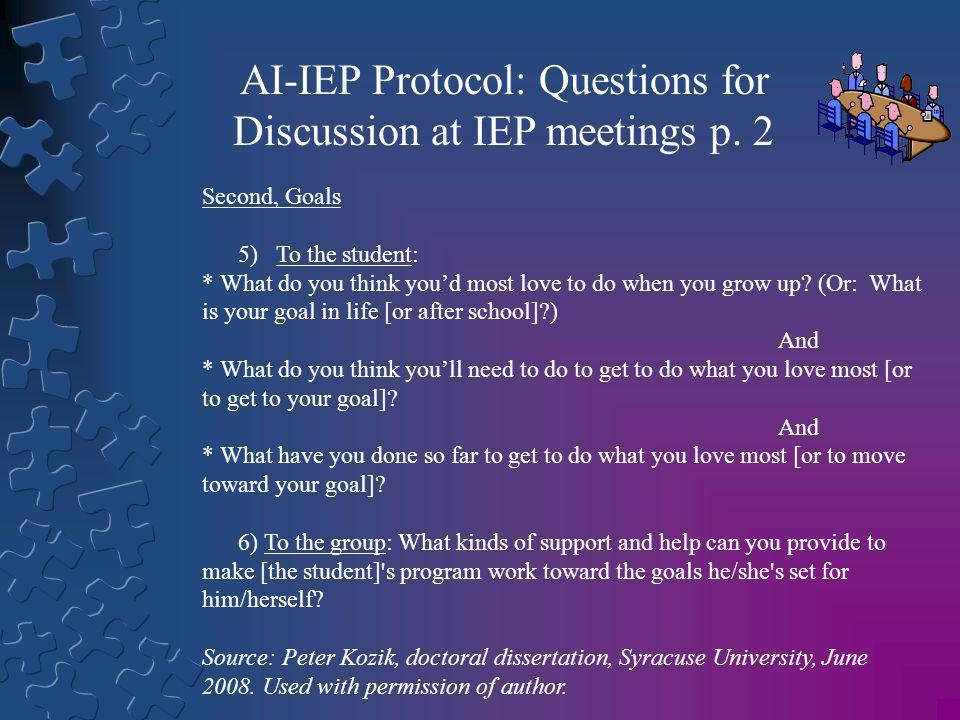 AI-IEP Protocol: Questions for Discussion at IEP meetings p. 2