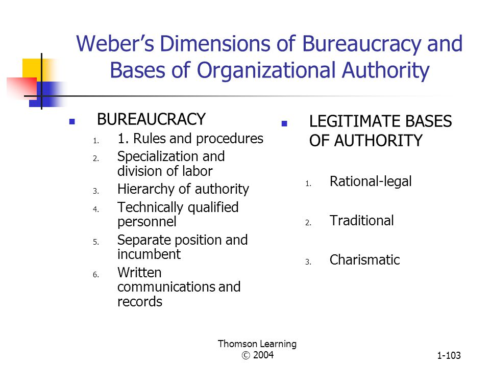 Weber's Dimensions of Bureaucracy and Bases of Organizational Authority