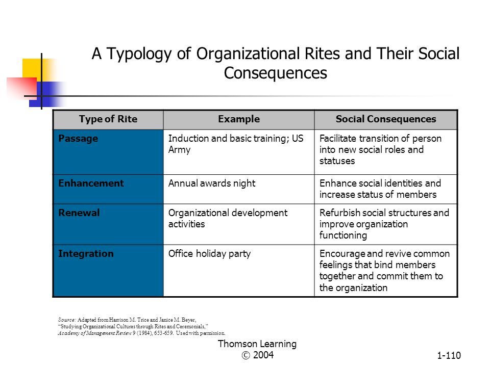 A Typology of Organizational Rites and Their Social Consequences