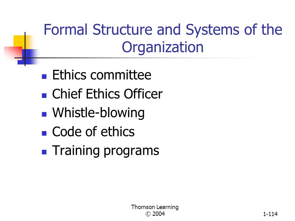 Formal Structure and Systems of the Organization