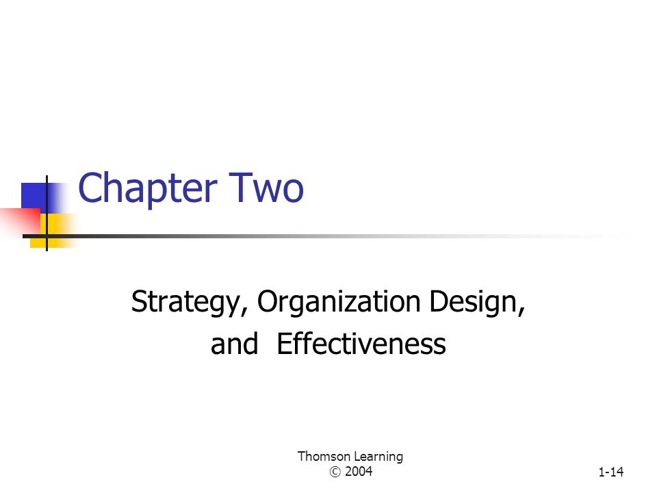 Strategy, Organization Design, and Effectiveness