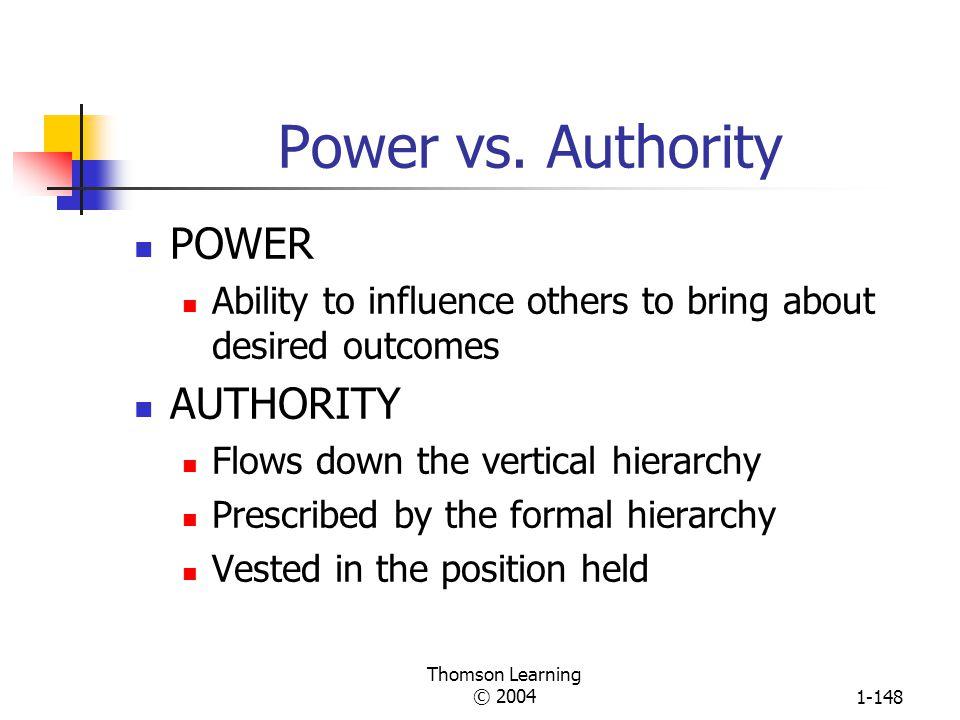 Power vs. Authority POWER AUTHORITY