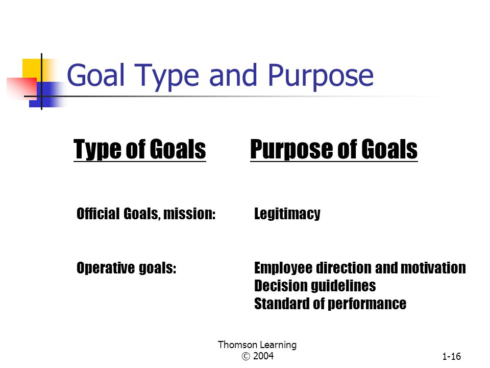 Goal Type and Purpose Type of Goals Purpose of Goals