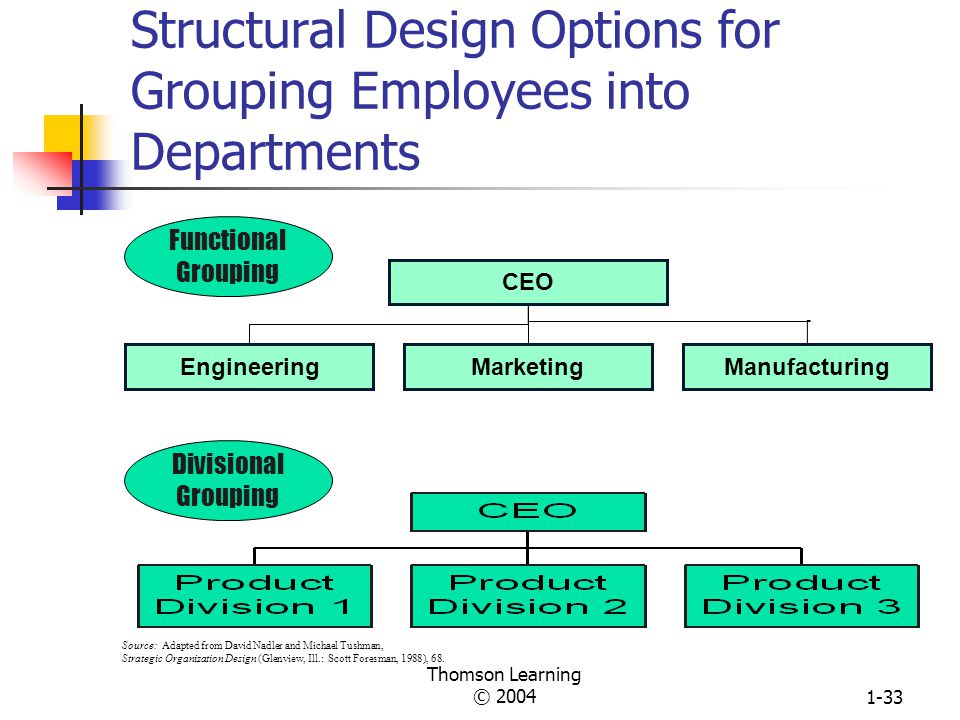 Structural Design Options for Grouping Employees into Departments