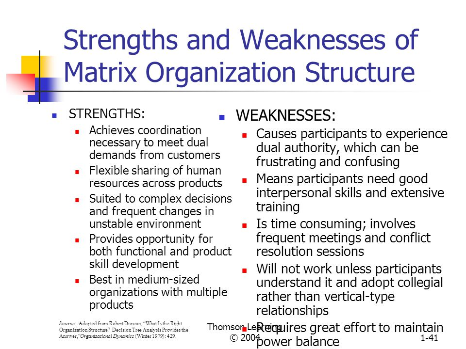 Strengths and Weaknesses of Matrix Organization Structure
