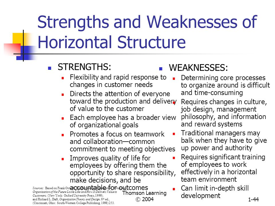 Strengths and Weaknesses of Horizontal Structure