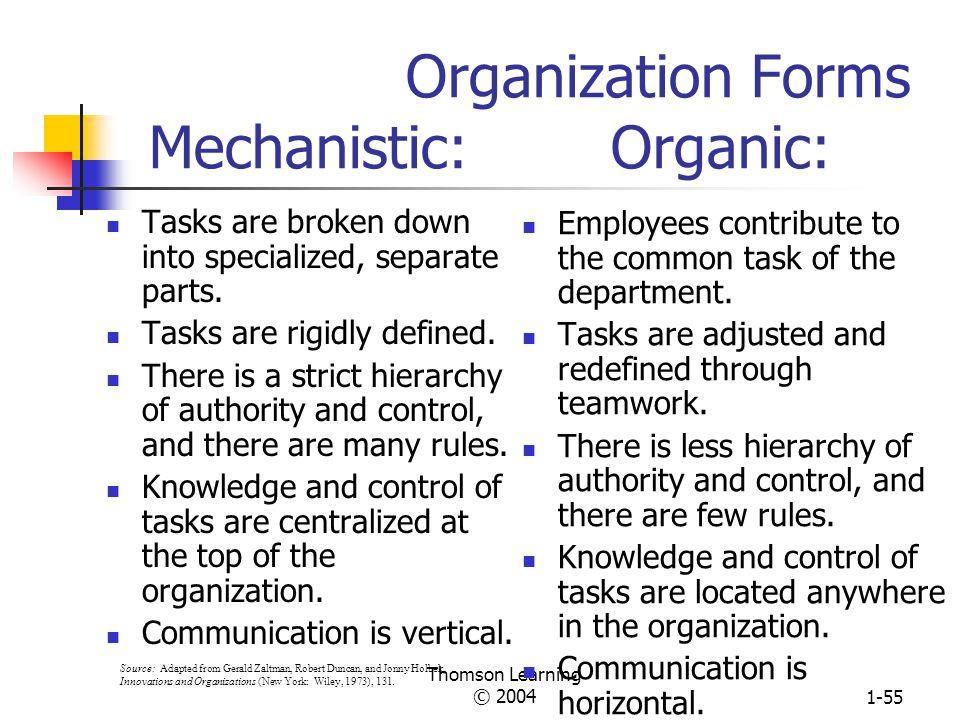 Organization Forms Mechanistic: Organic: