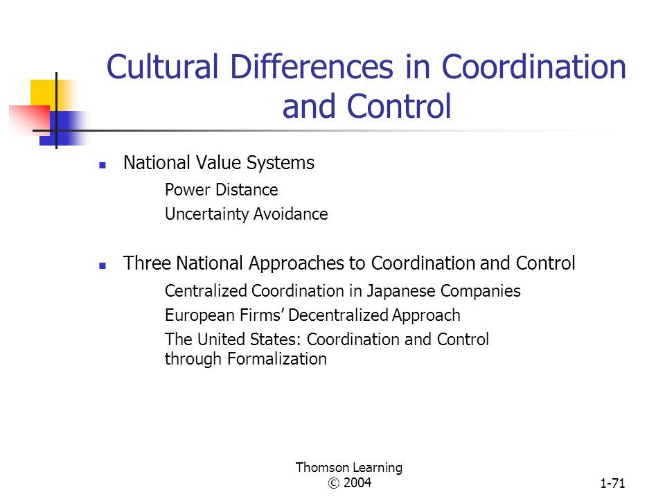 Cultural Differences in Coordination and Control