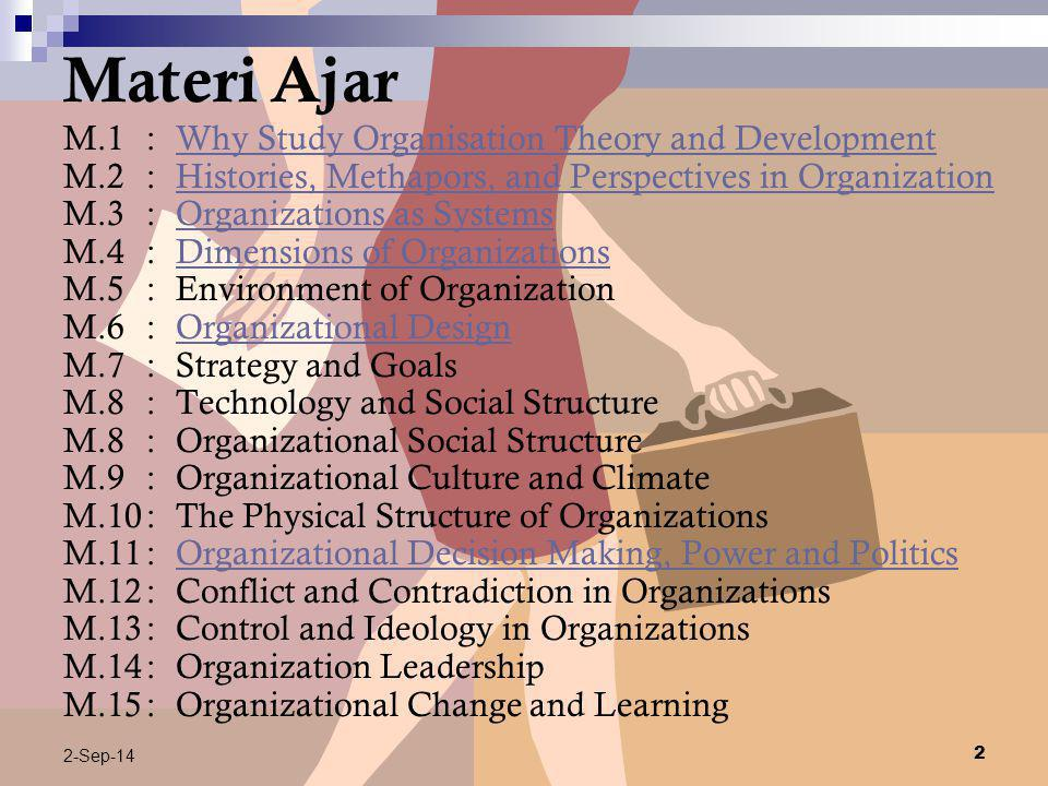 Materi Ajar M.1 : Why Study Organisation Theory and Development