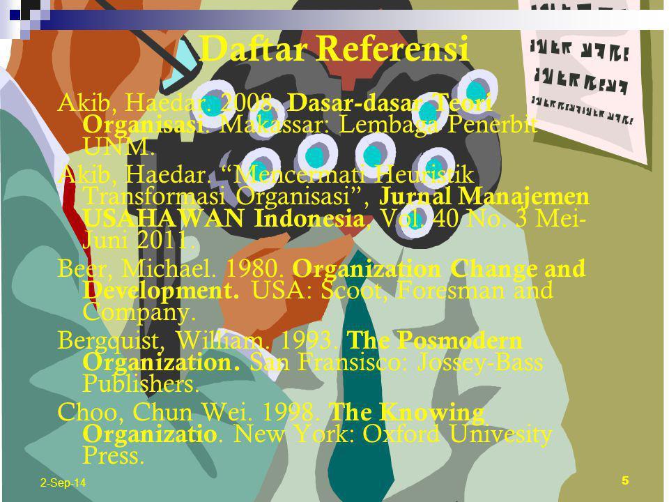 06/04/2017 Daftar Referensi. Akib, Haedar. 2008. Dasar-dasar Teori Organisasi. Makassar: Lembaga Penerbit UNM.