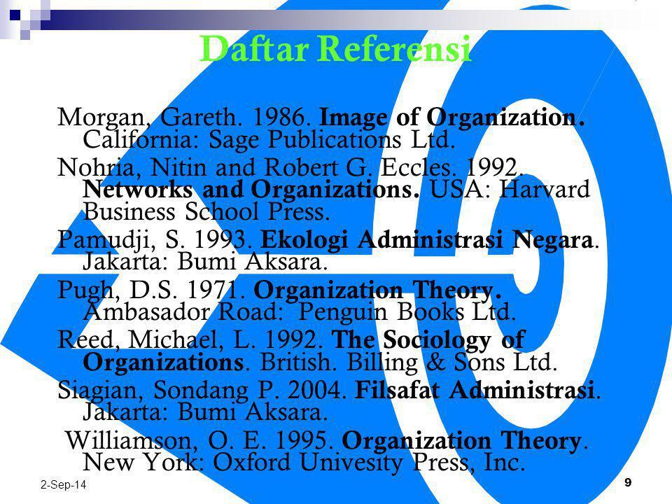06/04/2017 Daftar Referensi. Morgan, Gareth. 1986. Image of Organization. California: Sage Publications Ltd.