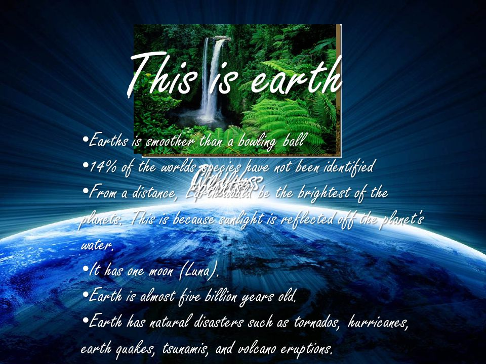 This is earth Oceans Canyons Earth Wildlife plants