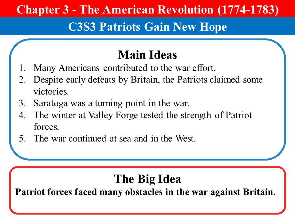 Chapter 3 - The American Revolution ( )